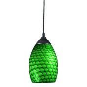 Z-Lite 131-GREEN Pendants , Indoor Lighting, Sand Black / Green Glass