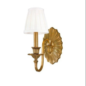 Hudson Valley Lighting Empire 1-Light Wall Sconce - Aged Brass Finish with Off White Faux Silk Shade