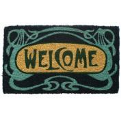 Entryways Art Deco Welcome Handwoven Coconut Fibre Doormat