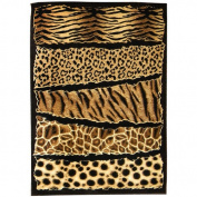 DonnieAnn Company Skinz 71 Mixed Brown Animal Skin Prints Horizontal Patchwork Area Rug