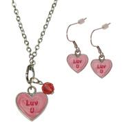 "Gloria Duchin Candy Heart ""Luv U"" Pendant and Earrings Set"
