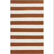 0.6m x 0.9m Accumbent Striped Brown and Ivory Reversible Woven Wool Area Throw Rug