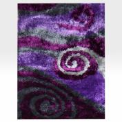 DonnieAnn Company Flash Shaggy Lilac Abstract Swirl Rug