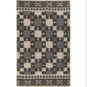 0.6m x 0.9m Ornate Square Grey and Ivory Reversible Hand Woven Wool Area Throw Rug