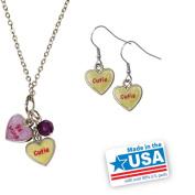 "Gloria Duchin Candy Heart Double ""Be Mine/Cutie"" Pendant and Earrings Set"