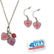 "Gloria Duchin Candy Heart Double ""Be Mine/Luv U"" Pendant and Earrings Set"