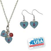 "Gloria Duchin Candy Heart ""XO"" Pendant and Earrings Set"
