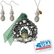 Gloria Duchin Pineapple Ornament, Necklace and Earrings Jewellery Set