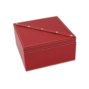 Bey-Berk Red Leather with Studs Jewellery Box - 8.35W x 4.5H in.