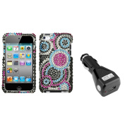 Insten Bubble Diamante Case For iPod Touch 4 + USB Car Charger Adapter