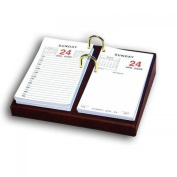 Dacasso A3006 Mocha Leather 3.5inx15cm Desktop Calendar Holder - Gold Bolts