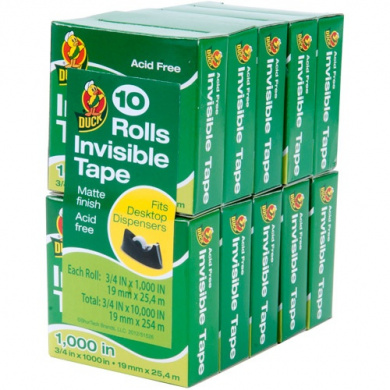 Duck Brand Matte Finish Invisible Tape - Clear, 10 pk, .190cm . x 2540cm .