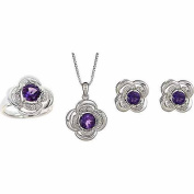 Round White Diamond Accent and Amethyst Silver-Tone Brass Ring, Earrings and Pendant Set, 46cm