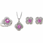 Round White Diamond Accent and Created Pink Sapphire Silver-Tone Ring, Earrings and Pendant Set, 46cm