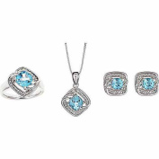 Accent Carat T.W. Round White Diamond Blue Topaz Rhodium-Plated Ring, Earrings and Pendant Set, 46cm