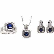 Diamond Accent and Round Created Cushion-Cut Blue Sapphire Silver-Tone Ring, Earrings and Pendant Set, 46cm