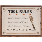 Wilco Tool Rule Metal Wall Sign, Creme and Black