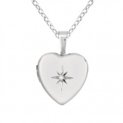 Momento Lockets Sterling Silver Diamond Heart Necklace