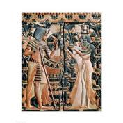 Tutankhamun and his wife Ankhesenamun in a garden Poster Print