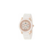 Charles-Hubert Paris 6810-W Rose-Gold Plated Stainless Steel Case Ceramic Band White Dial Multi-Function Watch
