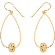 Simply Gold 10kt Yellow Gold Teardrop with Round Bead Earrings
