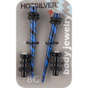 Hot Silver Crystal Accent Acrylic Ear Stretchers