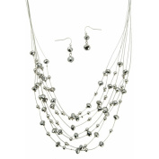 Imitation Rhodium and Stone Drop Earrings and Necklace Set, 60cm