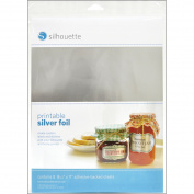 Silhouette Printable Adhesive Foil, 20cm - 1.3cm x 28cm , 8/pkg, Silver