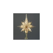 25cm Multi-Point Star of Bethlehem Glass Gem Christmas Tree Topper - Clear Lights