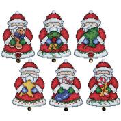 Santa Ornaments Plastic Canvas Kit, 7.6cm x 10cm Set Of 6