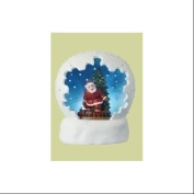 10cm Battery Operated LED Lighted Santa Claus & Christmas Tree Table Top Domes