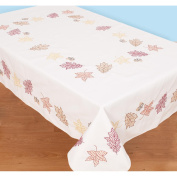 Jack Dempsey Fall Leaves Stamped White Table Cloth, 130cm x 180cm