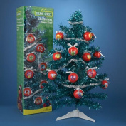 . Fully Decorated Sesame Street Teal Blue Tinsel Artificial Christmas Tree - Unlit