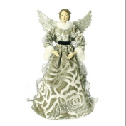 48cm Greenish Grey Glittered Fur Trim Angel Christmas Table Top Figure
