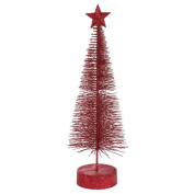 Pack of 2 Burgundy Glitter Sisal Artificial Table Top Christmas Trees 20cm