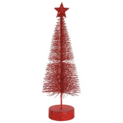 Pack of 2 Red Hot Glitter Sisal Artificial Table Top Christmas Trees 20cm
