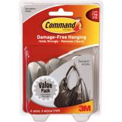 Command Designer Hooks, Brushed Nickel, Medium, 4 Hooks, 6 Strips/Pack