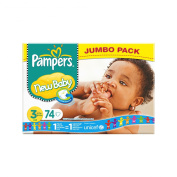 Pampers Nappies New Baby Size 3 (Midi) 4-7kg 74 Nappies