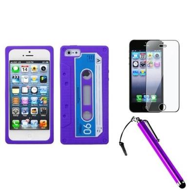 INSTEN Electric Purple Retro Cassette Skin Case For iPhone 5 + Stylus + Screen Guard