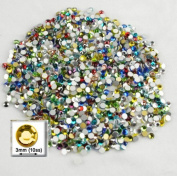 Nail Art 1000pc Rhinestones Round 3mm - 10ss Multi Assortment
