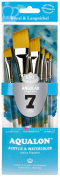 Aqualon Royal and Langnickel Short Handle Paint Brush Set, Angular, 7-Piece