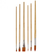 Sax Copper Acrylic Brushes with Long Wood Handle, Round and Bright Sizes 2, 6, and 10