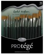 Connoisseur Gold Nylon Short Handle Brush Set, 15-Piece