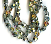 6mm Fire Polish Round Czech Glass Beads - Crystal Marea Faceted