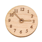 Maple Wood Laser Cut Steampunk Clock Face Pendant Bead Component 2.5cm