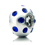 """Pacific Beads Silver Plated Crystal Bead - """"Disco Night"""" Blue Crystal"""