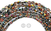 Choose a Size, Crystal Santander coated, Czech Fire Polished Round Faceted Glass Beads, 41cm