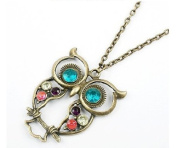 Classical Style Crystal Diamond Owl Design Necklace/sweater Chain 74cm Length