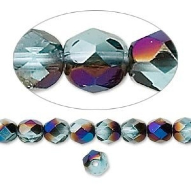 6mm Teal w/ Blue Iris Preciosa Czech Fire-Polished Glass Faceted Round Beads - Pack of 65