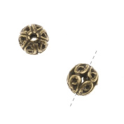 Antiqued Brass Round Ornate Filigree Spacers Beads 6mm